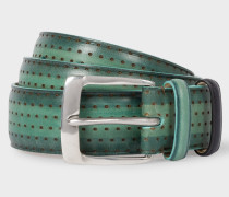 Green Embossed Dot Burnished Leather Belt