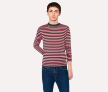 Dark Green And Pink Stripe Crew-Neck Merino Wool Sweater