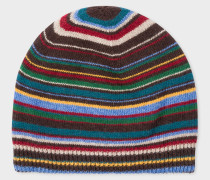 Signature Stripe Wool-Cashmere Beanie Hat