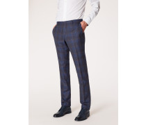Slim-Fit Navy Check Slub Wool And Silk-Blend Trousers