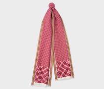 Red Geometric Motif Silk-Blend Scarf