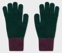 Dark Green Wool Knitted Gloves
