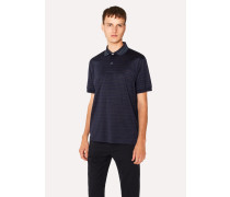 Slim-Fit Navy Striped Cotton Polo Shirt