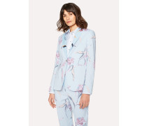 Light Blue 'Pacific Rose' Print Linen-Blend Blazer