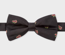 Black Embroidered 'Dreamer Frog' Silk Bow Tie