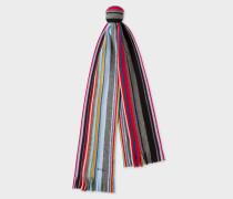 Grey Fennel-Stripe Wool Scarf