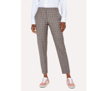 Grey And Pink Check Wool Trousers