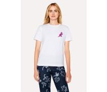 White Small 'Dino' Print Cotton T-Shirt