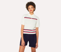 Cream Knitted Henley Polo Top With Stripes