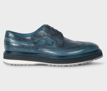 Blue Leather 'Grand' Brogues With Striped Soles