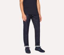 Tapered-Fit 13oz 'Pink Italian Twin Selvedge' Dark-Wash Denim Jeans
