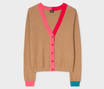 Camel Wool-Cotton Cardigan With Contrast Trims