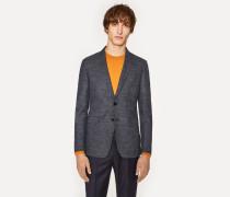 Slim-Fit Navy Flecked Wool-Silk Blazer