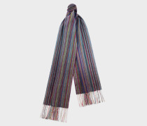 Blue Muted Signature Stripe Cashmere Scarf