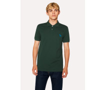 Slim-Fit Green Embroidered 'Zebra' Polo Shirt