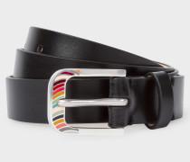 Black 'Swirl' Buckle Leather Belt