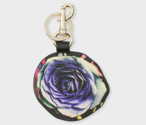 'Rose Collage' Print Leather Keyring