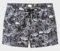 Black 'Psychedelic Sun' Print Swim Shorts