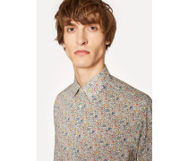 Classic-Fit 'Micro Floral' Print Shirt With Paisley Cuff Lining