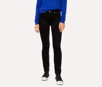 Black Skinny-Fit Corduroy Trousers