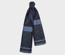 Navy And Slate Blue 'Dino' Wool Scarf
