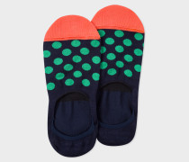 Dark Navy Loafer Socks With Green Polka Dots