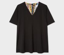 Black V-Neck Top With Contrasting 'Stamp' Print Silk Back