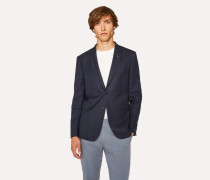 Slim-Fit Slate Blue Textured Wool Blazer
