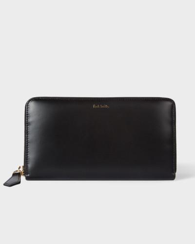 Large Black Leather Signature Stripe Interior Zip-Around Wallet