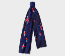 Navy Embroidered 'Flying Fuchsia' Wool Scarf