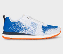 Blue And White 'Rappid' Knitted Trainers