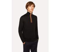 Black 'Artist Stripe' Funnel Neck Wool Half-Zip Sweater