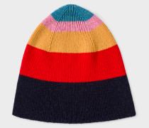 Multi-Coloured Striped Wool Beanie Hat