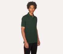 Slim-Fit Dark Green Cotton-Piqué Polo Shirt With Charm Buttons