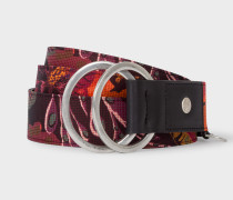 Black 'Ocean' Print Double Buckle Belt