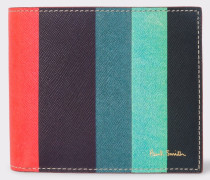 Leather 'Artist Stripe' Print Billfold Wallet