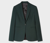 A Suit To Travel In -  Dark Green One-Button Wool Blazer