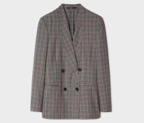 Grey And Pink Check Double-Breasted Wool Blazer