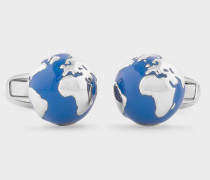 Navy and Silver Globe Cufflinks