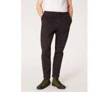 Charcoal Stretch-Cotton Trousers With Elasticated Waistband