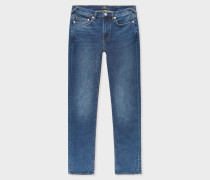 Slim-Fit 11.8oz 'Crosshatch Stretch' Antique-Wash Jeans