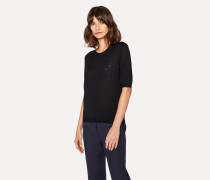Black Merino Wool And Silk-Blend Knitted T-Shirt