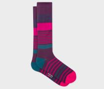 Damson Block Stripe 'A Sock To Travel In'