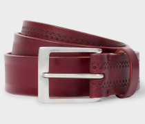 Burgundy Embossed Pattern Leather Belt