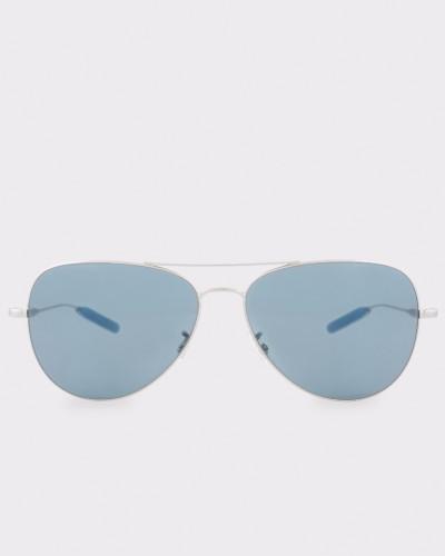 Brushed Silver And Indigo 'Davison' Sunglasses