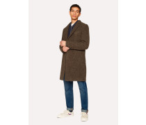 Brown Textured Wool-Blend Overcoat