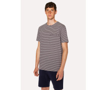 Aubergine Stripe Cotton Pocket T-Shirt