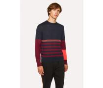 Dark Navy Block Stripe Wool And Silk-Blend Sweater