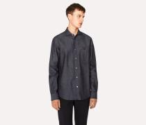 Tailored-Fit Indigo Denim Shirt With Bike Button Detail