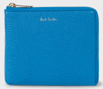Blue Textured Leather Corner-Zip Wallet
